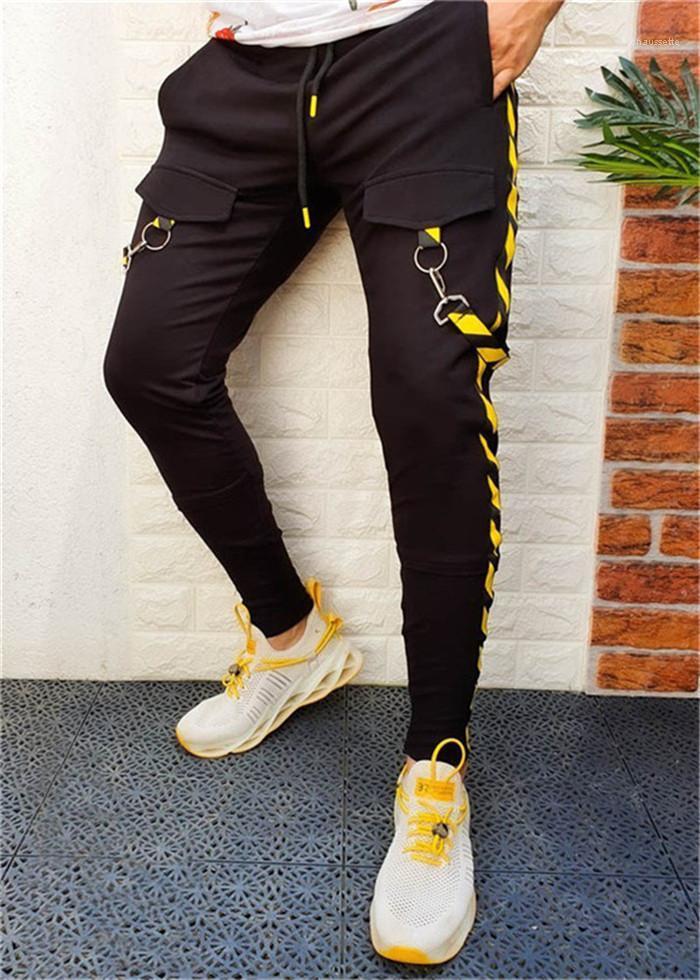 Pantaloni della tuta Zipper Patchwork Skateboard Hip Hop dei pantaloni della matita autunno casuale del progettista Il modo mette i pantaloni Slim Mens