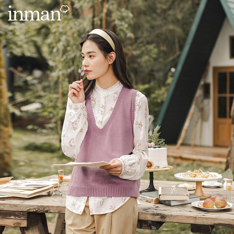 INMAN 2020 Autumn Winter New Arrival Artsy Style Simple Design All Match Female Girl Women Sweater Vest T200910