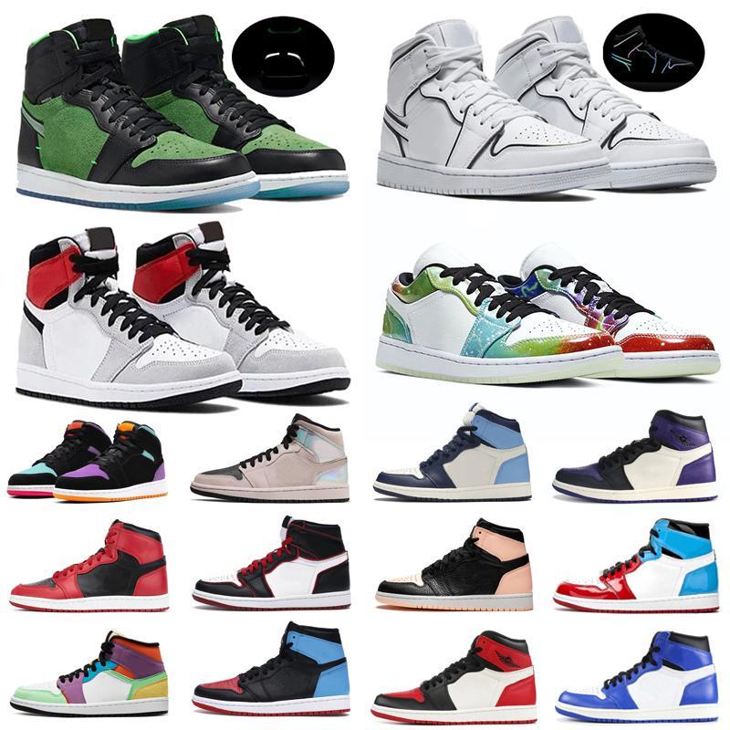 1 1s erkek basketbol ayakkabıları Kraliyet siyah Burun çam yeşil siyah mahkeme mor beyaz Patent erkekler kadınlar yeni spor ayakkabıları eğitmenler