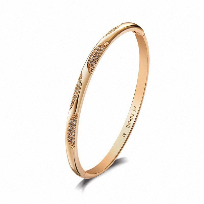 MxGxFam New Zricon Bangle Bracelet For Women Fashion Jewelry Gold Color 18 K + No Skin Allergy Nickel Free XZ7S#