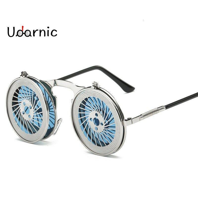 Steampunk rotondo infradito occhiali da sole, unisex, retro, 90s, rave party, selfie accessorio 226-238