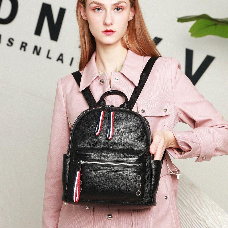 Майо Нового Arrvials Женщины Кожа Рюкзак Real Soft Cowskin Bagpack женщина Дама Дорожной сумка рюкзак кожа Пеленка сумка черного MsPz #