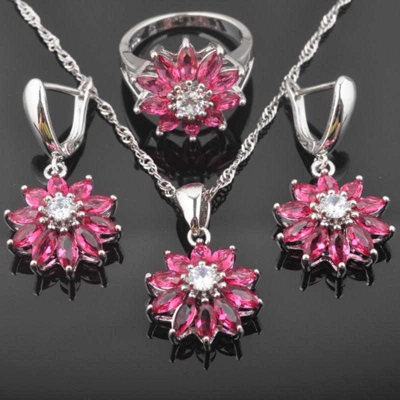 Color plata Conjunto de joyas para el traje pendiente del collar de la flor de las mujeres del anillo de bodas Red Sky Zirconia Crystal Establece QZ0435
