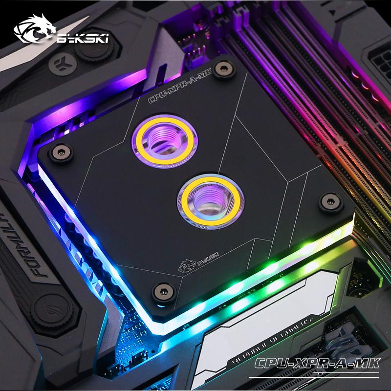 Bykski CPU Water Block use for INTEL LGA1150 1151 1155 1156 2011 2066 X99 RGB Light Support 5V 3PIN GND Header to Motherboard