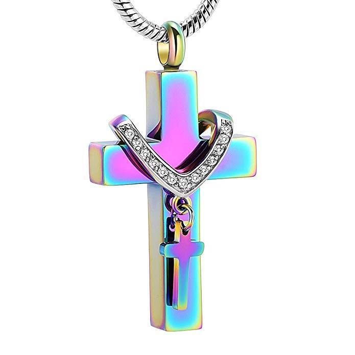Arco-íris de cor com colar de cristal Pingente Memorial medalhão Cremation Ashes lembrança amor eternidade funil livre Jóias