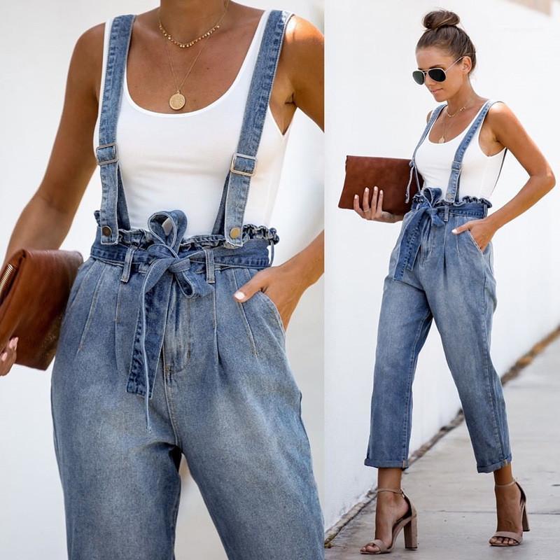 Light Blue Hosen-Sommer-Damen-Hosen Frauen Jean Overall Hosen beiläufige Art und Weise gewaschene Entspannt