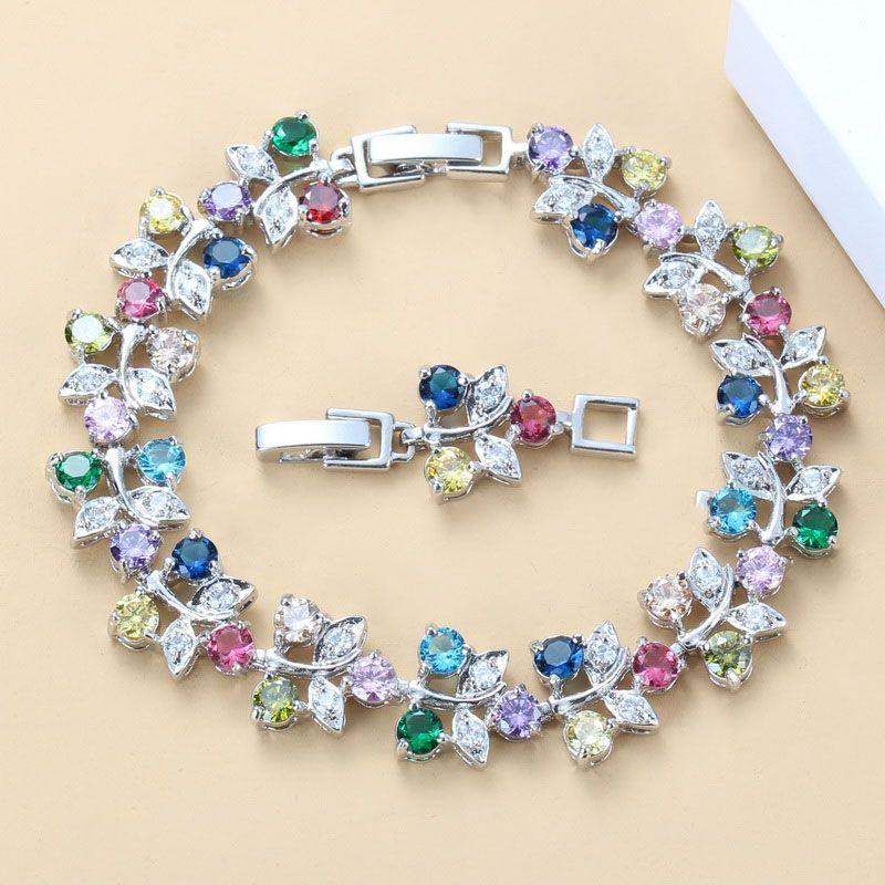 2020 Novo estilo Cadeia Moda traje deslumbrante colorido CZ Prata Color Link Bracelet para as Mulheres Jóias