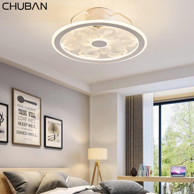 المشجعين الكهربائية رقيقة جدا أضواء مروحة سقف التطبيق التحكم عن بعد plafonnier led غير مرئية الأوراق lampara techo نوم مصابيح 220 فولت