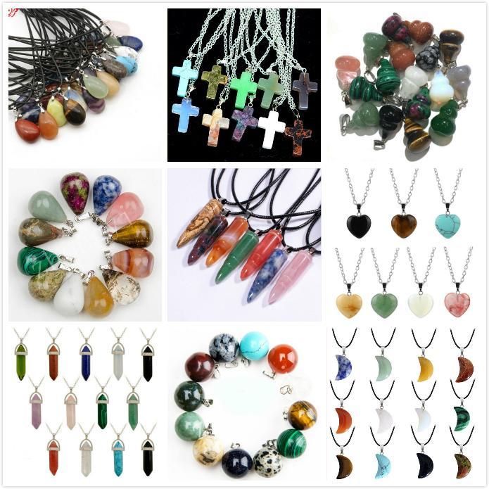 12 Forma Diferente Pedra Natural Colares do real Ametista Mulheres Chakra Pedras de gema de cristal de quartzo colares Verão DHC1972 Jóias