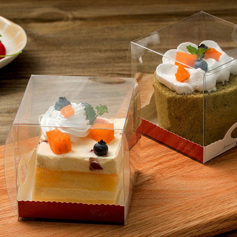 Claro PVC transparente cajas de torta con la base interior de la torta de la magdalena de las cajas de embalaje caja de regalo de boda del partido