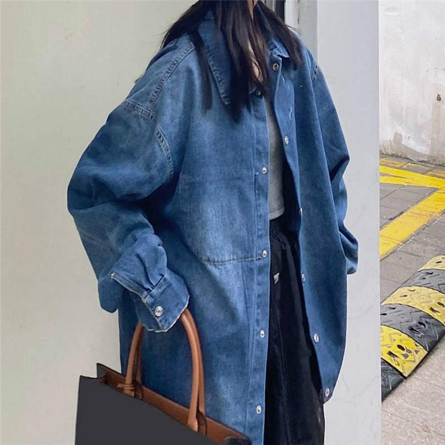 Mujeres chaqueta vaquera largo del resorte chaquetas de invierno con el botón Estilo Moda Escudo bordado de las letras rompevientos Chaqueta de los pantalones vaqueros M-XL