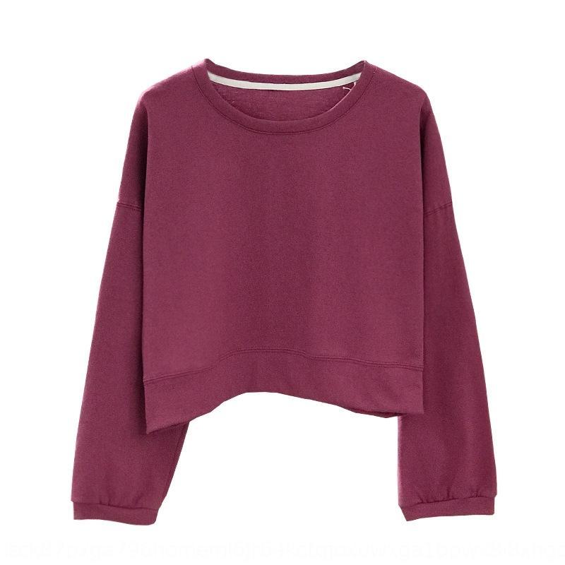 Осень пуловеры Нового 2019 Корейская круглая шеи свитера Корейского похудение сплошного цвет свитер свитер ленивым большой размера базовой рубашка мода Bk6MJ BK6