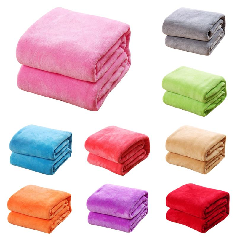 Coralina del paño de franela mantas para camas de piel de imitación de visón Lanzar color sólido Sofá Cover Colcha suave felpa caliente del invierno a cuadros Manta