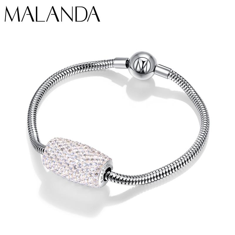 Luxury Crystals From Bracelet Column Beads Charm Bracelet Bangle For Women Fashion Wedding Party Jewelry Gift