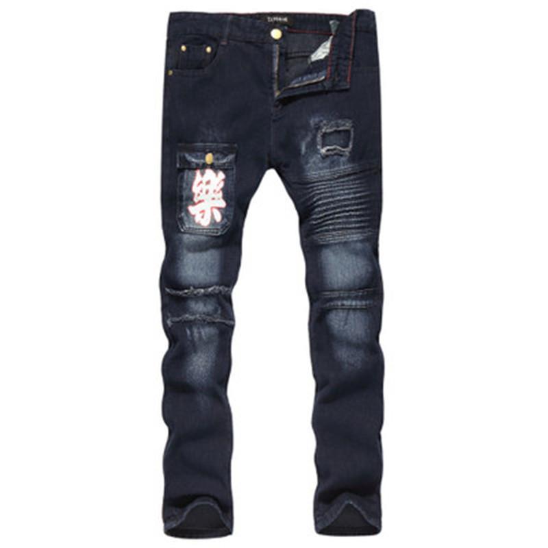 Man Stretch Motorrad Jeans Fashion Trend Loch Stickerei Falten Reißverschluss-Denim-Hosen Designer Männer Neue Low Waist beiläufige dünne Jeans