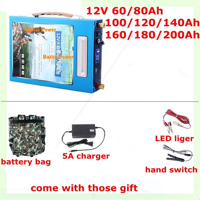 High Capacit Power 12V 5V USB 100AH 120AH 150AH 180 220AH Li-polymer Battery for Boat Motors Solar Panel Bank LED