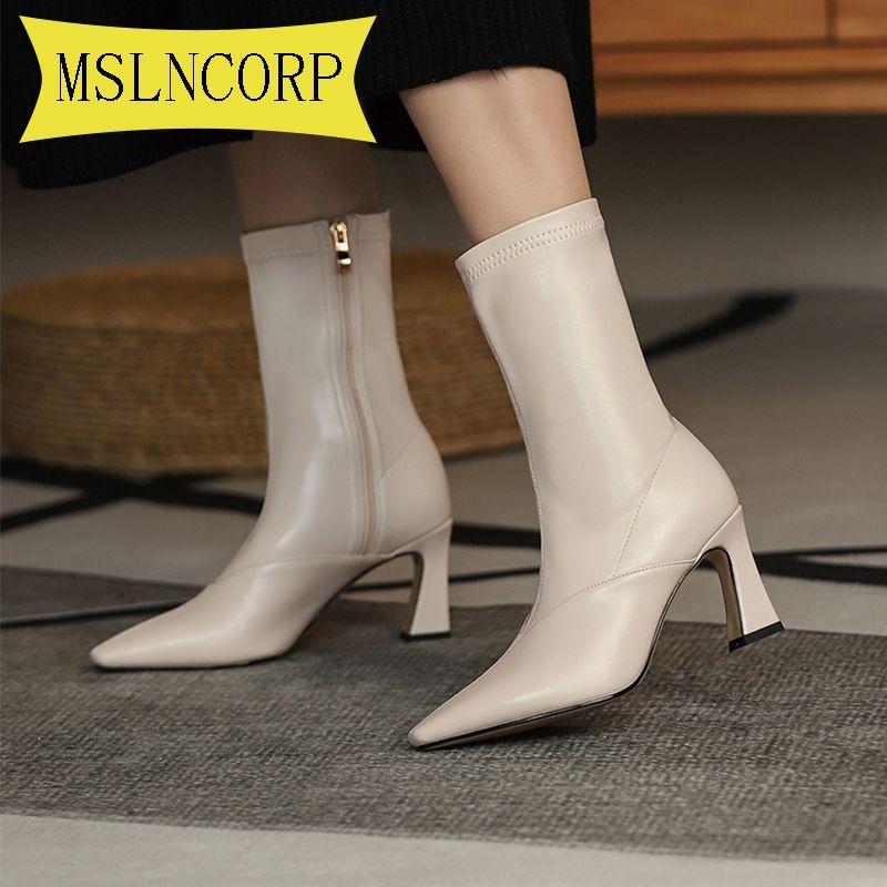 Artı Kadınlar Moda Ayakkabı 2020 İlkbahar Sonbahar Bilek Patik Kadın için Boyut 34-46 Seksi Çizme Deri Zip Çizme Yüksek Topuklar