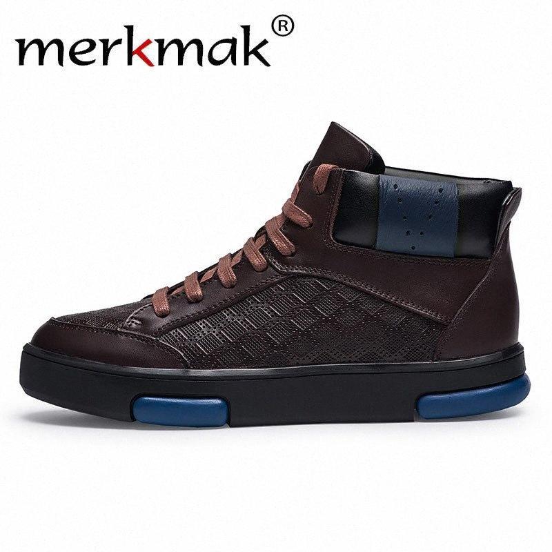 Merkmak Big Size Couro Quente Botas Outono-Inverno Botas Homem ata acima sapatas de trabalho ocasional tamanho grande 47 Lazer sapatos rj1M #