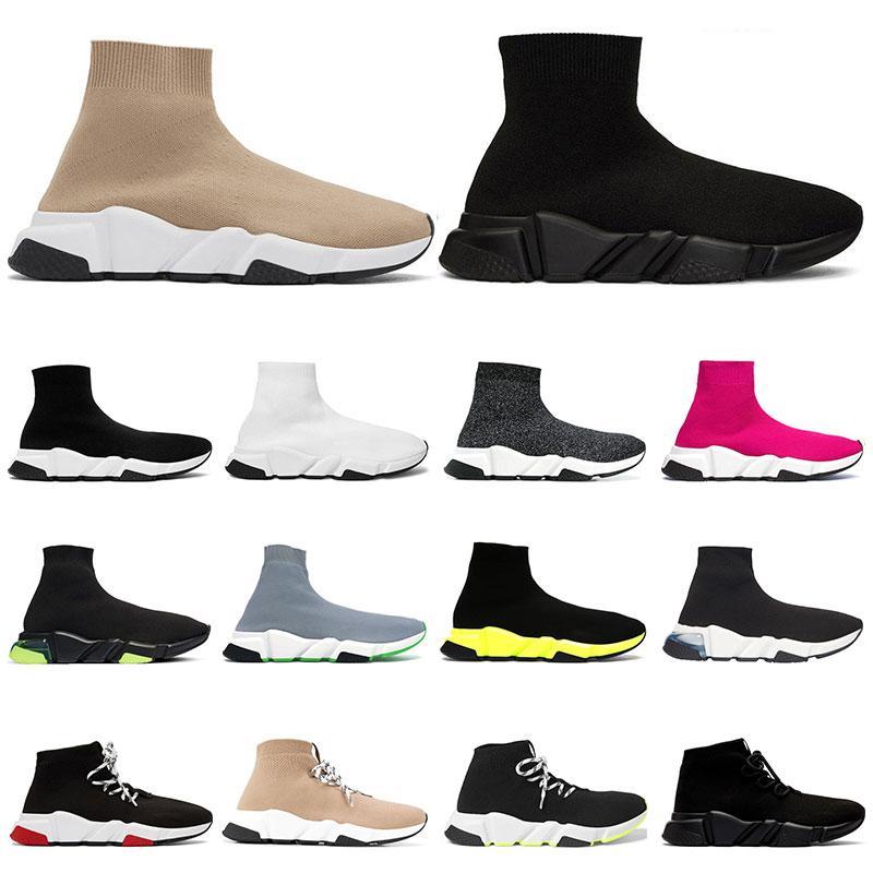 디자이너 양말 망 캐주얼 신발 Clearsole 스니커즈 트리플 베이지 블랙 화이트 레드 Bule 낙서 유일한 여자 스포츠 패션 야외 크기 36-45