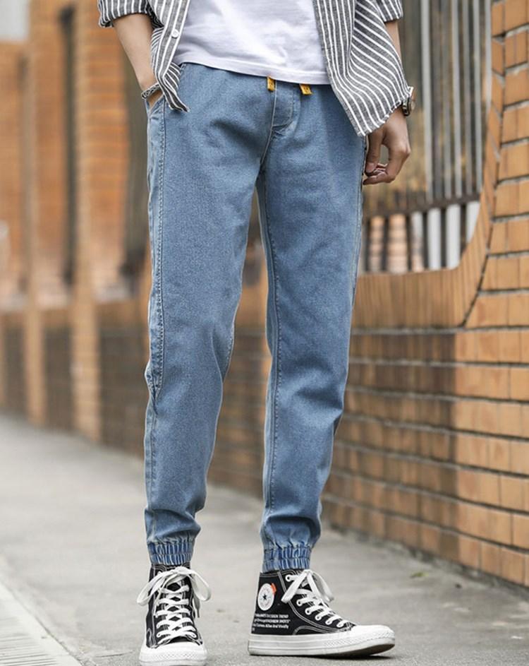 Горячие продавать осенью дизайнер роскошных мужских джинсов 2020 новой европейских американской молодежь тонкой обрезанных брюк карандаша брюки середины талия случайных мужских брюк