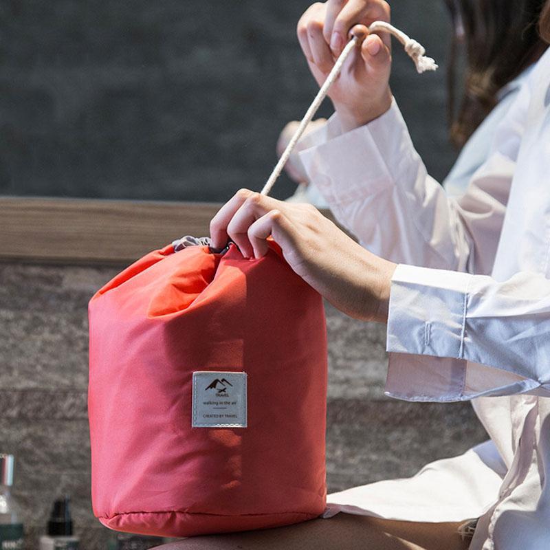 Moda Cilindro Shaped cosmético Drawstring Bag Mulheres de viagem de Grande Capacidade de Higiene Pessoal Organizador armazenamento caso da composição Wash Bolsa Bolsas VT1599
