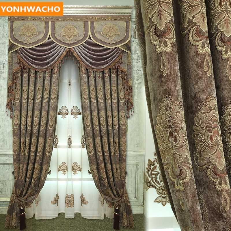 Пользовательские шторы Европейская гостиная высококлассные виллы толщиной синели жаккардовые кофе ткань затемнение занавес тюль балдахин драпировки B168