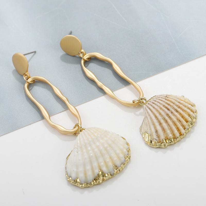 Regalo delle donne Dichiarazione AENSOA Boho lungo Shell Pendant della cavità della lega orecchini di goccia Beach monili unici di disegno degli orecchini naturale per
