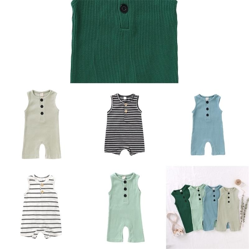 garçons et filles été de coton nouveau-né vêtements, une pièce barboteuse doux, salopette sans manches, vêtements pour bébés