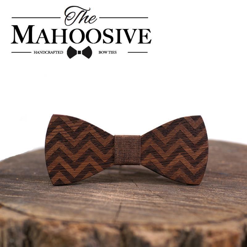 Mahoosive Ahşap Papyon Erkekler Örgün Kravat İş Düğün Bow Tie Erkek Elbise Gömlek Boy Erkek Moda Geometrik Yenilikçi