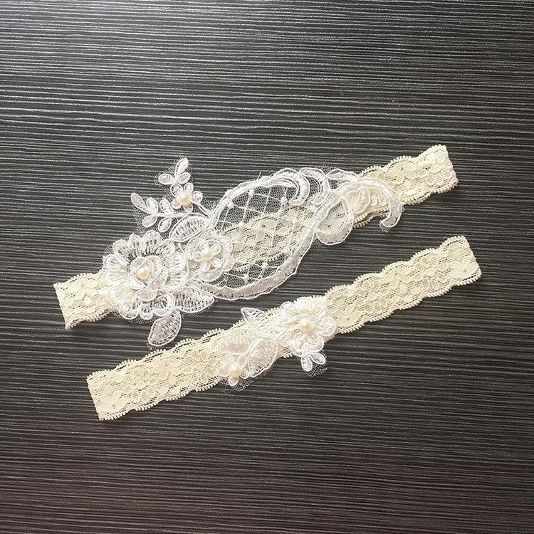 2019 Lace Bridal Garters Wedding Accessories Sexy Lingerie Elastic Legs Foot Ring Loops Laciness Lace Appliques Garter Belt Floral Elastic