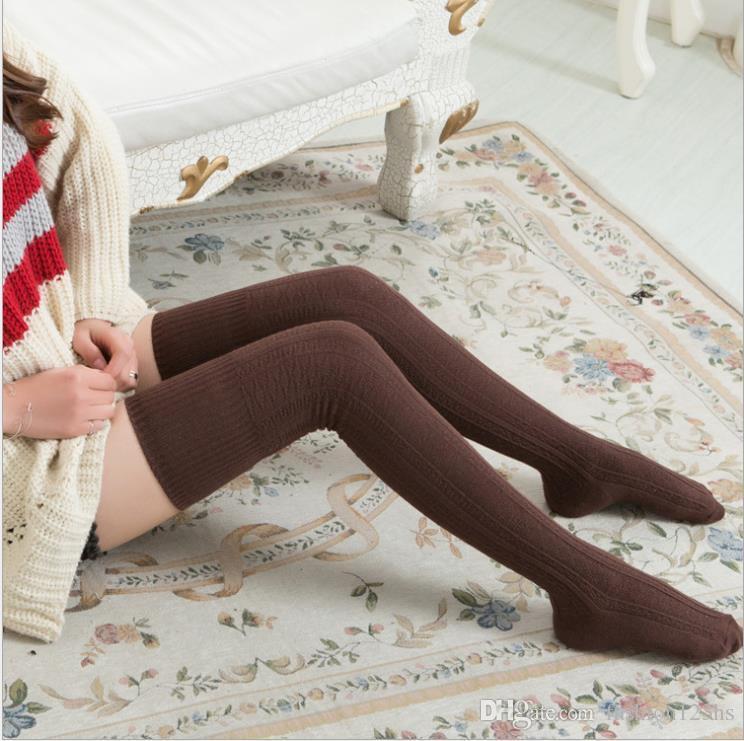 NUEVA rodilla pega algodón de las mujeres de alta del muslo sobre la rodilla medias para señoras de las muchachas 2020 80cm caliente súper larga media atractiva Medios