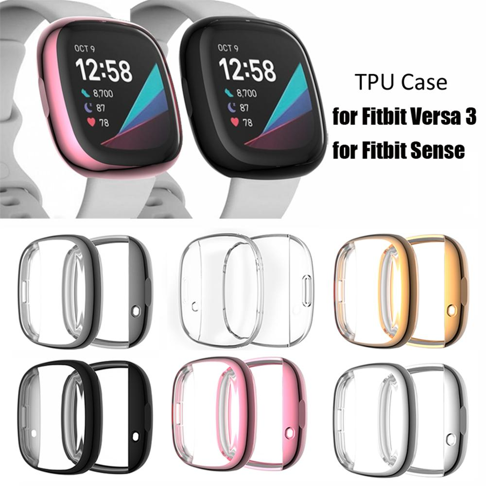 Soft Tpu Case For Fitbit Versa1 Versa 2 Versa 3 Band Waterproof Watch Shell Cover Screen Protector For Fitbit Versa
