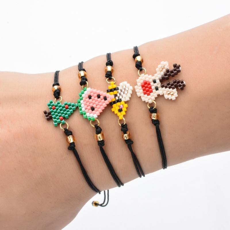 Doreen Box Tessuti a mano Rice Beads Elementi di Natale del fumetto Elk Bracciali corda regolabile per i regali di donne Party Girls, 1Piece