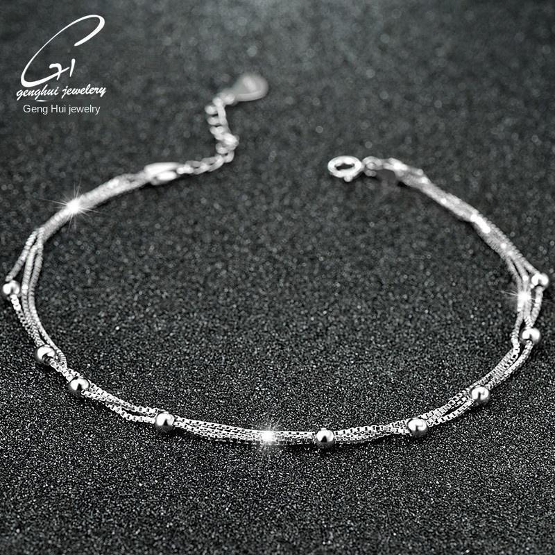 z3J6m 925 joyas de plata perlas de perlas redondas estilo de moda de Corea plata de la joyería para el tobillo de las mujeres de Corea Campana de múltiples capas para el tobillo