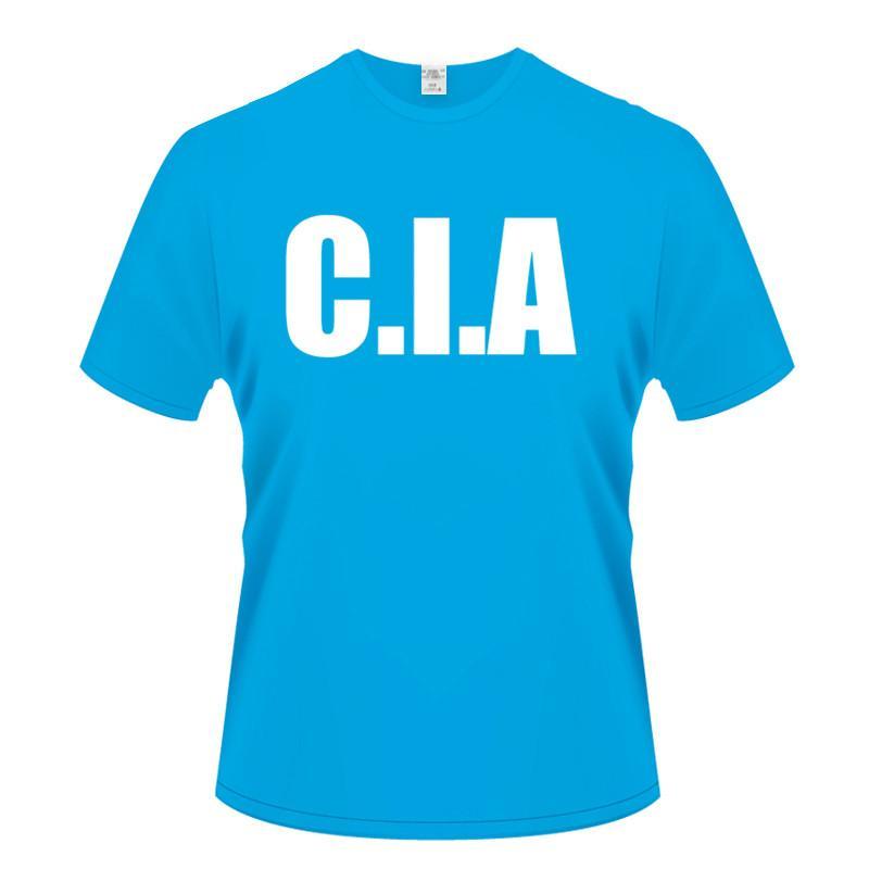 Imprimir CIA retro divertido del FBI feds EE.UU. enfriar el deporte de moda de verano de alta calidad O cuello manga corta masculino Sudadera con capucha camiseta de los hombres
