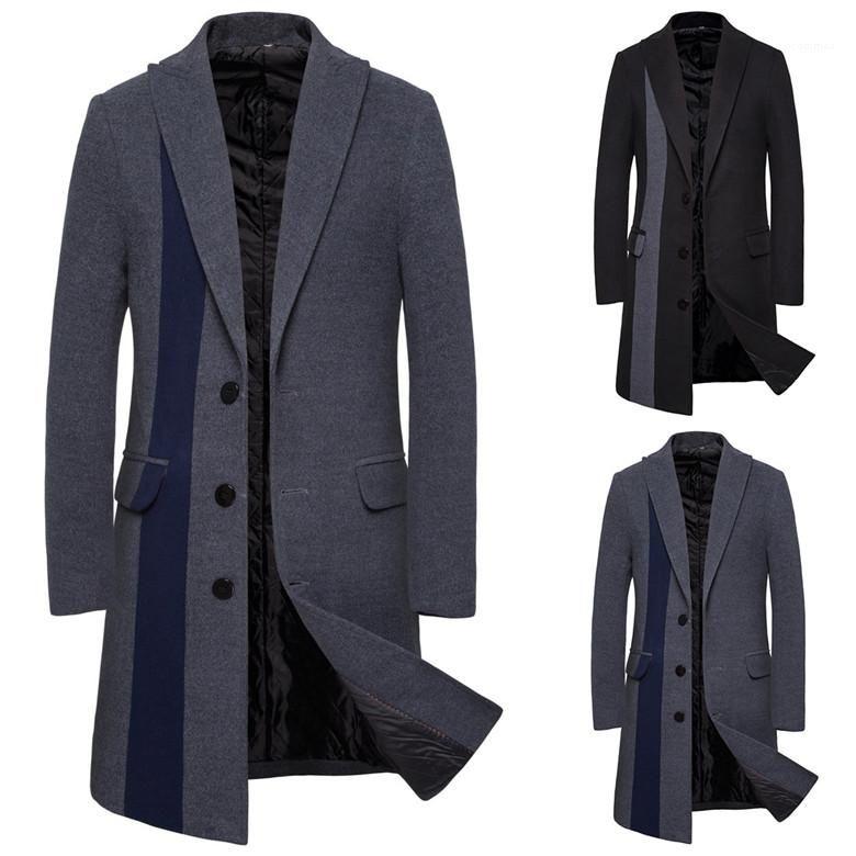Mode Homme Pardessus Designer Hommes Laine Manteaux d'hiver de couleur unie cou Lapel Moyen long vestes pour hommes simple boutonnage