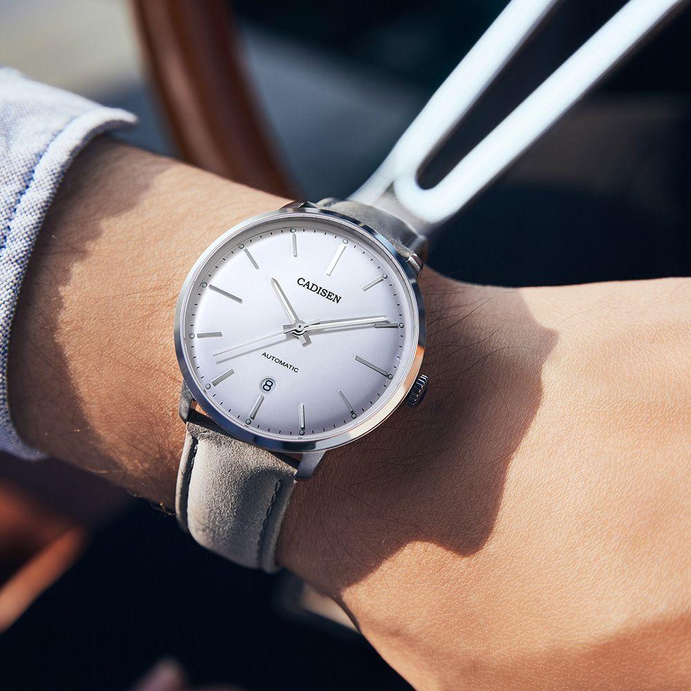 Mayforest superiore di marca Vigilanza automatica MIYOTA 8215 Uomini Impermeabile Data Sport Uomini Pelle orologio meccanico maschio modo dell'orologio