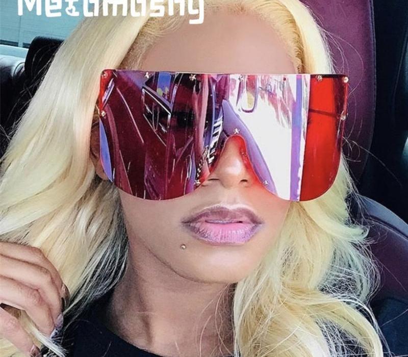 2020 Lunettes de soleil surdimensionnées femmes Brown Gradient mode sans monture en métal Femme Shades Anti-UV Lunettes de luxe Étoile Designer98