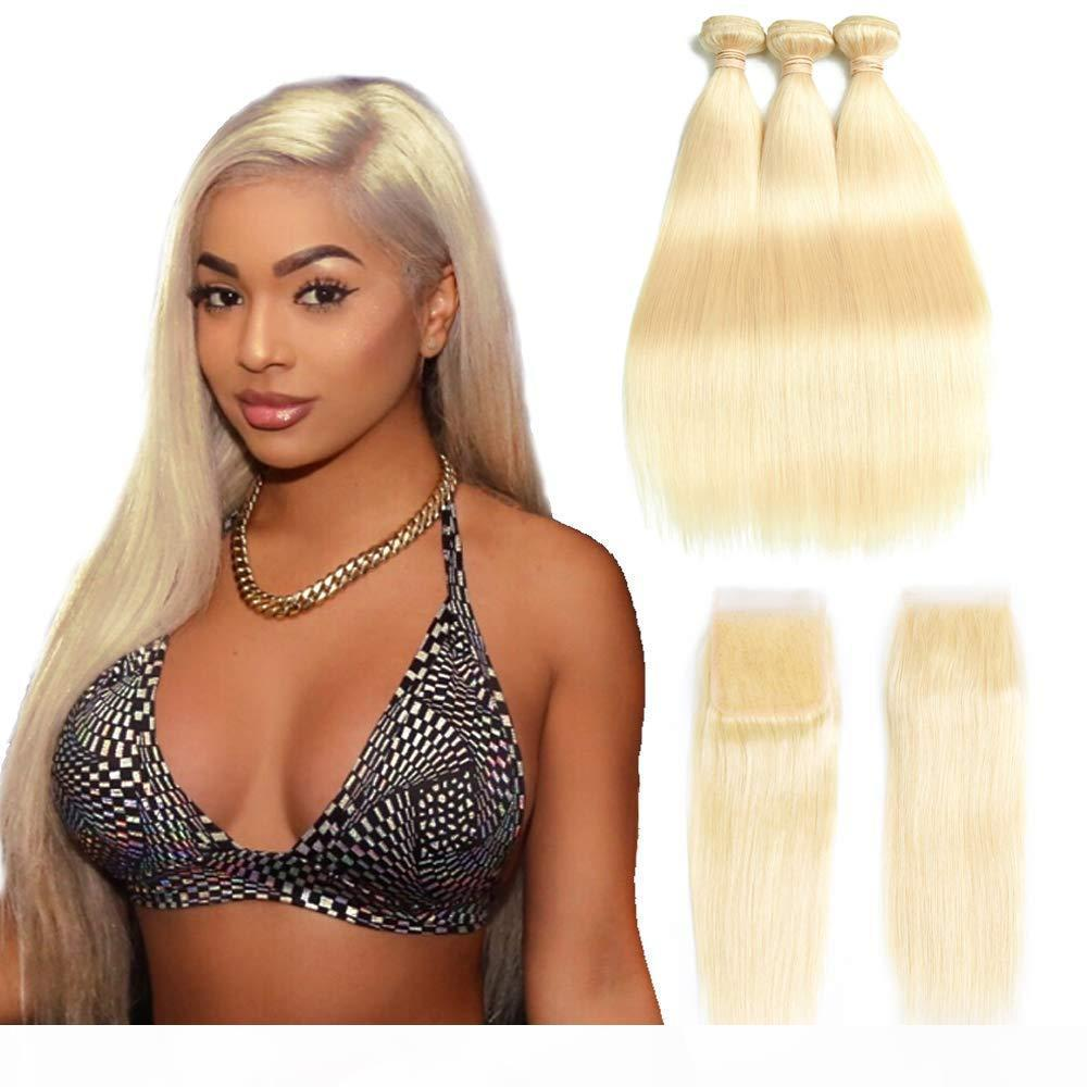 #613 Bundles With Lace Frontal Honey Blonde Color Brazilian Straight Remy Hair Weave 3 Bundles with 13*4 Frontal 4x4 Lace Closure