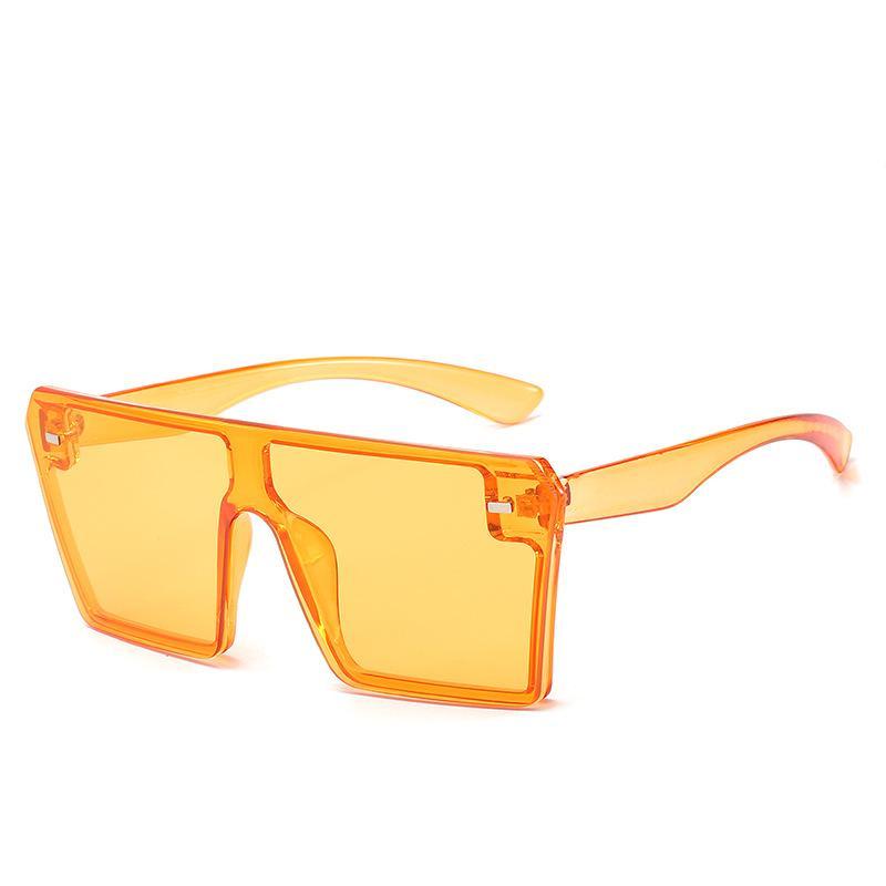 Vintage Plaza sin montura de gafas de sol de las mujeres de moda de lujo colorida de la tapa plana del remache del gradiente de gran tamaño Gafas de sol Mujer UV400