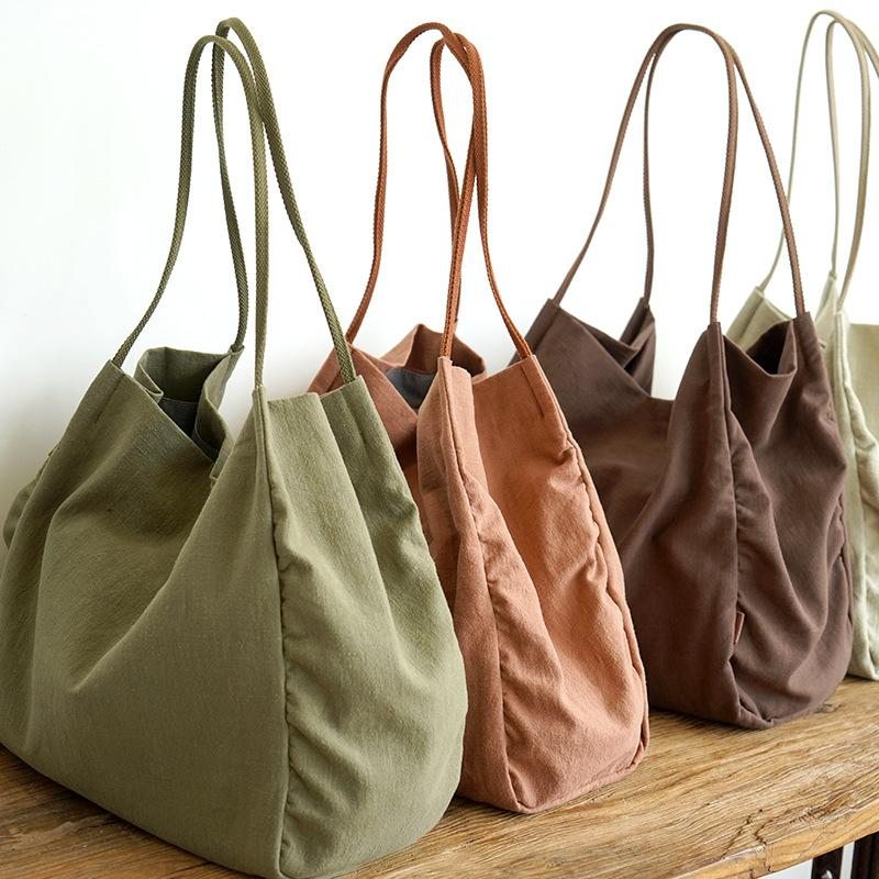 2020 new fashion Unisex Over Large Linen Tote Bag Women Casual Fabric Big Capacity Weekender Simplistic Top-handle Bag Lady Reusable Shopper