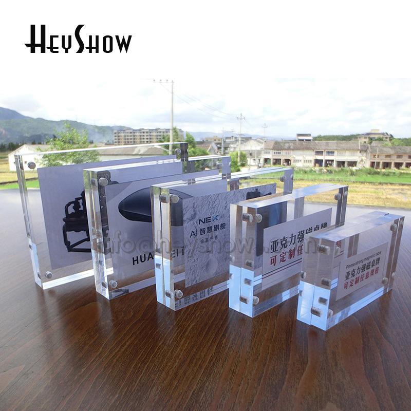 10x acrilico magnetico Prezzo Holder Tag Label telaio del tavolo di cristallo Photo Frame Display Stand Menu carta di nome Rack Iscriviti Base