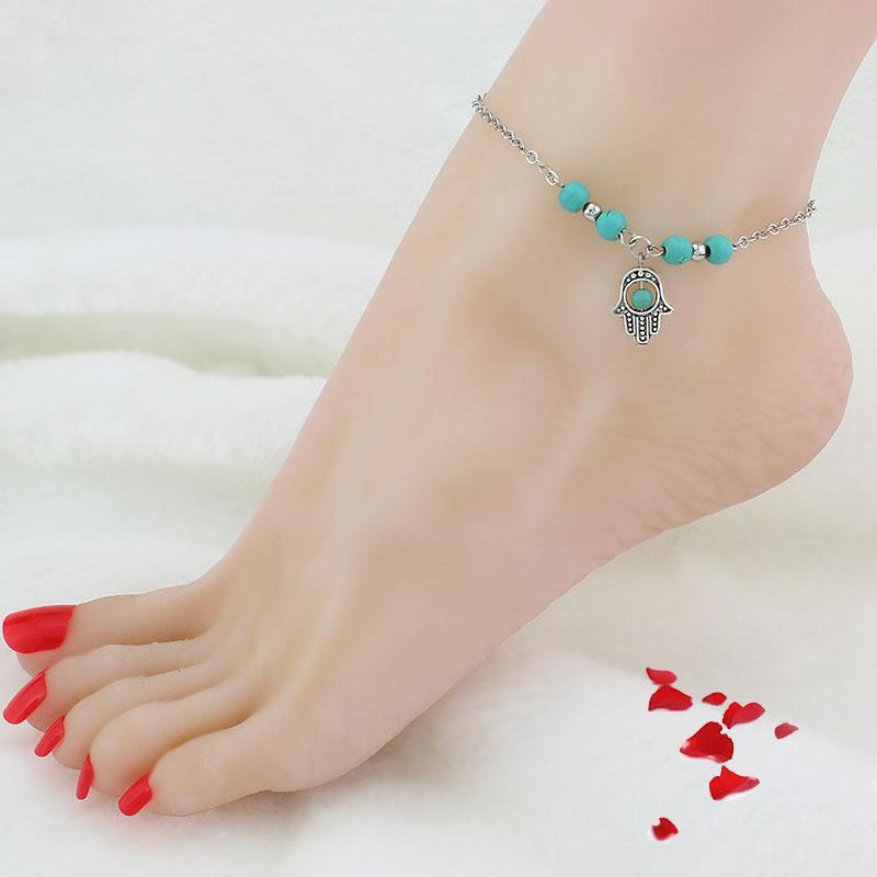 Бирюзовые анкеты женщин пляжные ноги цепи крест дерева черепахи ручной рукой для дам мода ювелирные изделия PS1814
