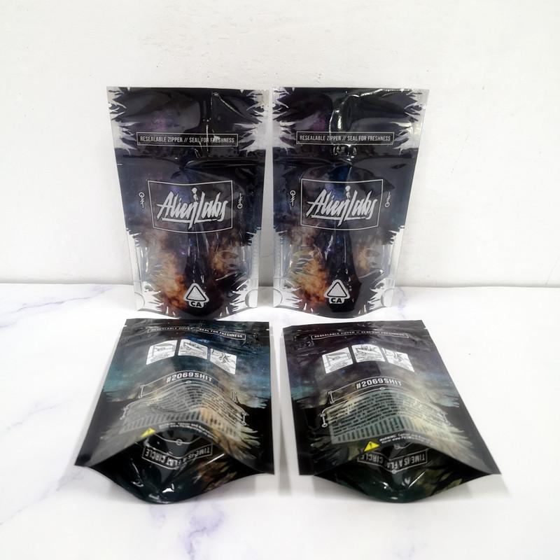New 3.5g Alien Labs Package Child Proof Bags Only Packaging Bag for Vape Zipper Stand Up Pouches 420 Dry Herb Flowers