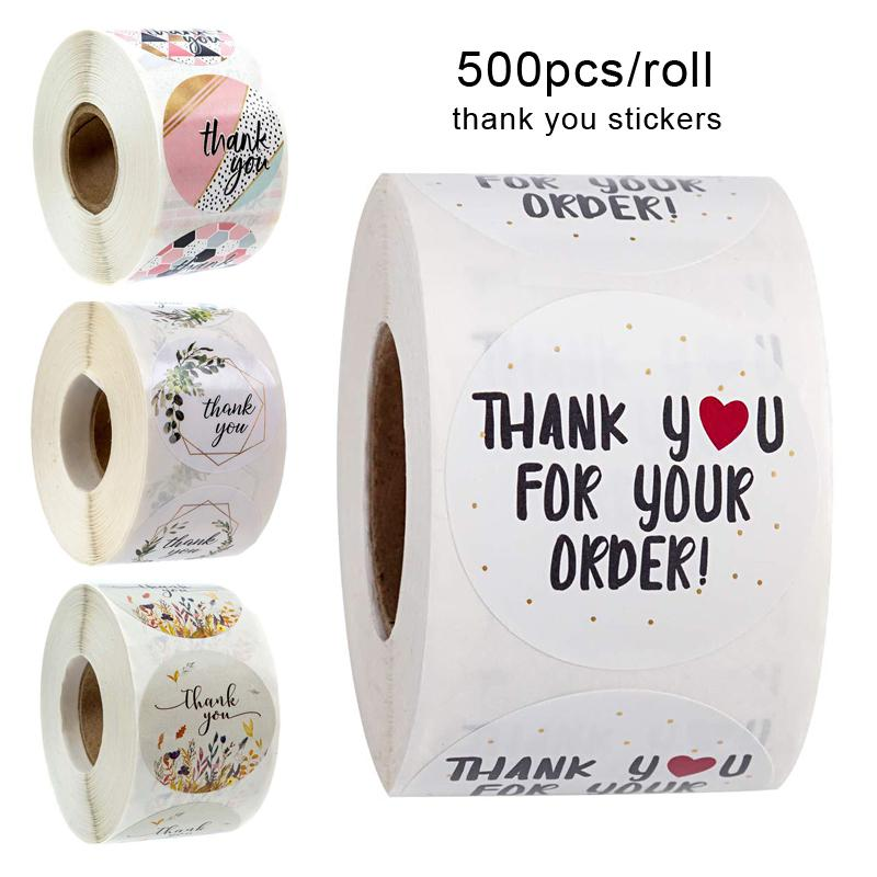 Amais 500pcs/roll Thank You Stickers Handmade Sticker Circle Stationery thank you for your order Seal Labels thank you sticker