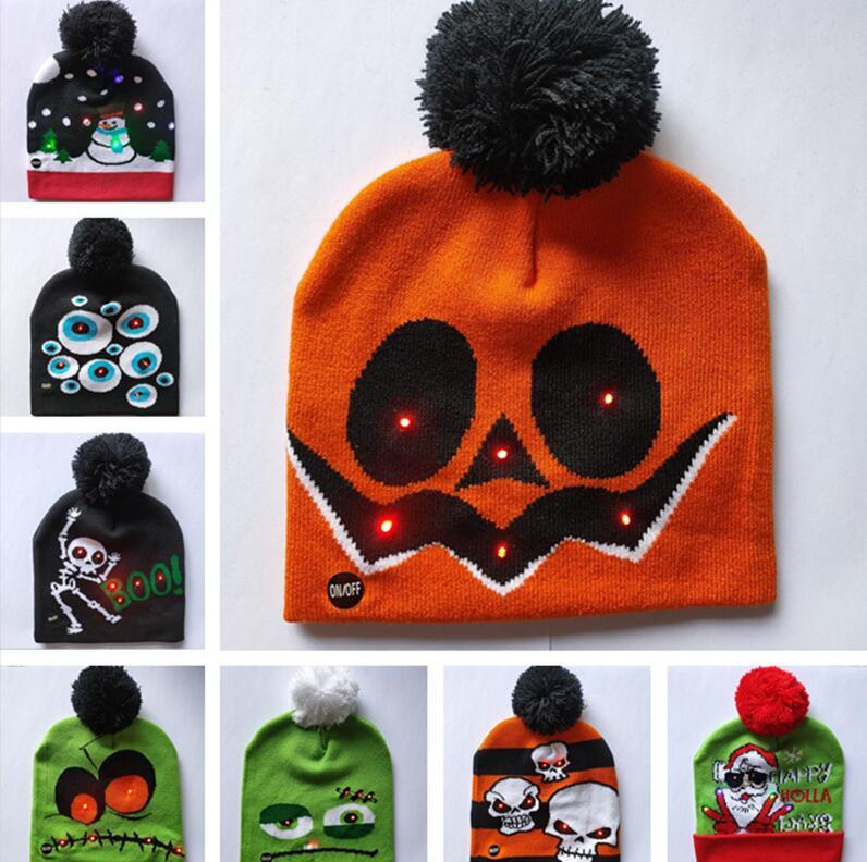 LED Cartoon Caps Hat Winter Party Light Up Beanies Night Flash Luminous Cap Christmas Halloween Pumkin Skull Devils Gorros Pom Hats B82103