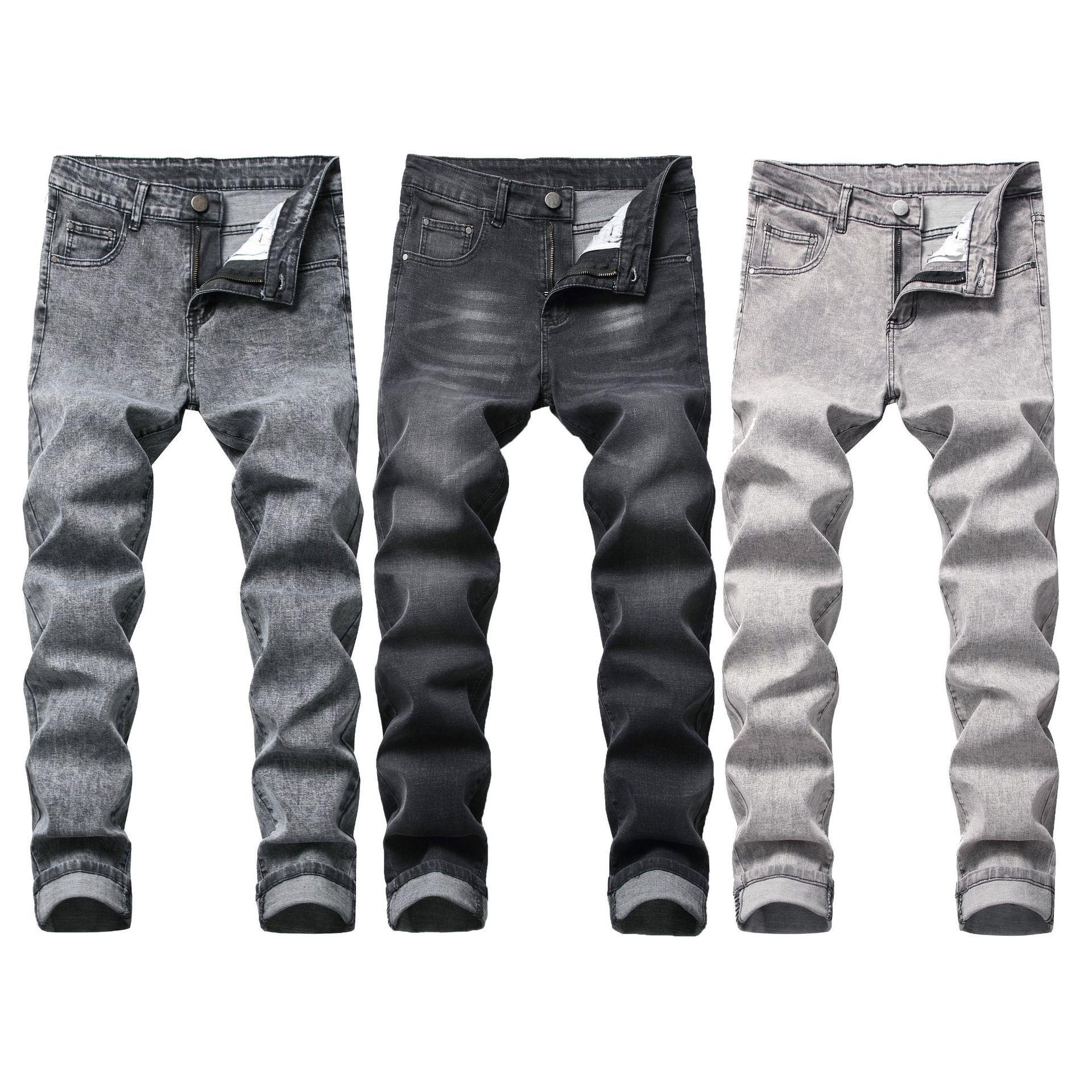 Los hombres de la motocicleta blanqueado Jeans Vintage Washed Denim Jeans destruidos flaca de los pantalones del lápiz en 3 colores pantalones grises
