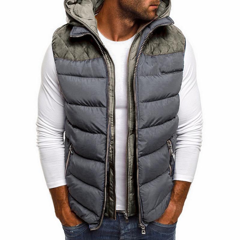 2020 abrigo de invierno del chaleco de los hombres Caliente sin mangas de la chaqueta capa ocasional del chaleco de algodón chaleco de la chaqueta con capucha hombre