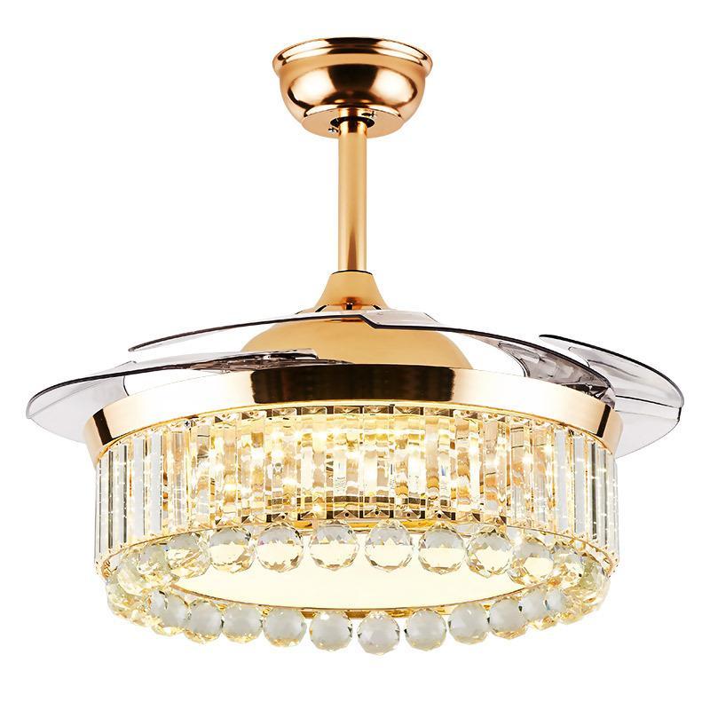 ışıkları ile 42 inç tavan fanı İskandinav lüks dekoratif fan lamba ev tavan lambası canlılar oda led kristal