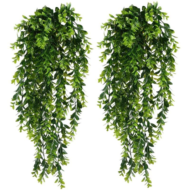 2Pcs Искусственного Трейлинг растения Поддельного висячие растения Поддельной Листва Зелень растения для сада Висячего Пота Корзины Декора